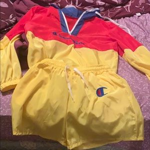 Champion summertime shorts windbreaker outfit